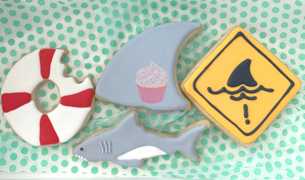 Decorated Sugar Cookies - Shark Theme